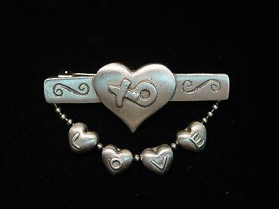 """JJ"" Jonette Jewelry Silver Pewter LOVE ~ Heart ~ Hugs & Kisses Pin"