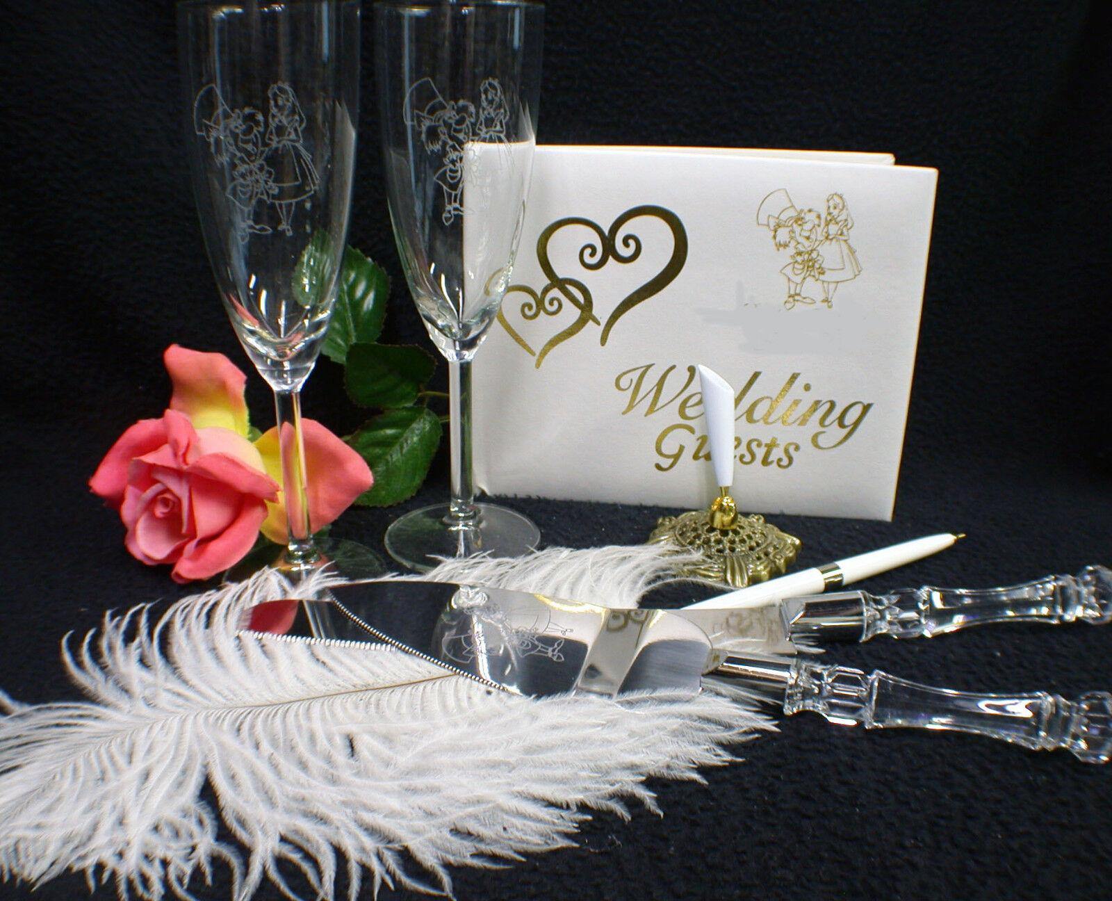 Alice au pays des merveilles Madhatter Lot mariage thème Verres Lot de couteaux Livre Lot