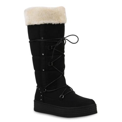 Damen Stiefel Warm Gefütterte Winterstiefel Kunstfell 820467 Schuhe