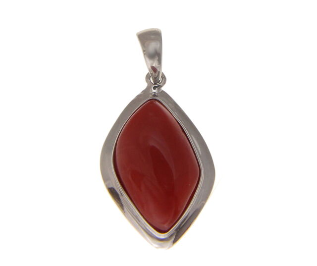 GENUINE NATURAL CABOCHON RED CORAL PENDANT SOLID 14K WHITE GOLD 13MM