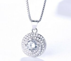 Solid-925-Sterling-Silver-Round-Halo-Rotary-CZ-Pendant-Necklace-Women-039-s-Gift-A6