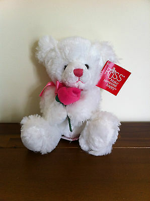 RUSS Valentines White Teddy Bear Plush Stuffed Toy Love Gift Rose-Rosalee