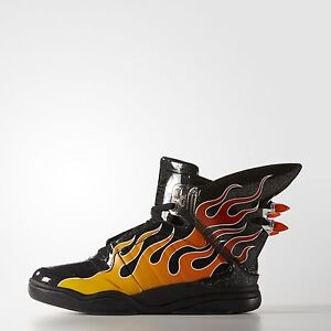 4cad5f446d1f Image is loading Adidas-Originals-Jeremy-Scott-Black-Wings-Shark-Flame-