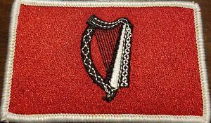 Irish-Ireland-Harp-Flag-Patch-W-VELCRO-Brand-Fastener-Red-amp-Black-White-Border