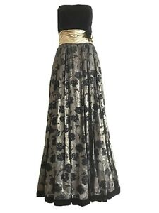 Escada-Gold-and-Black-Evening-Gown-SZ-S