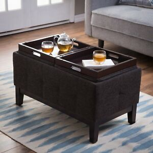 Prime Details About Transitional Dark Gray Fabric Upholstered Storage Ottoman With Serving Trays Short Links Chair Design For Home Short Linksinfo