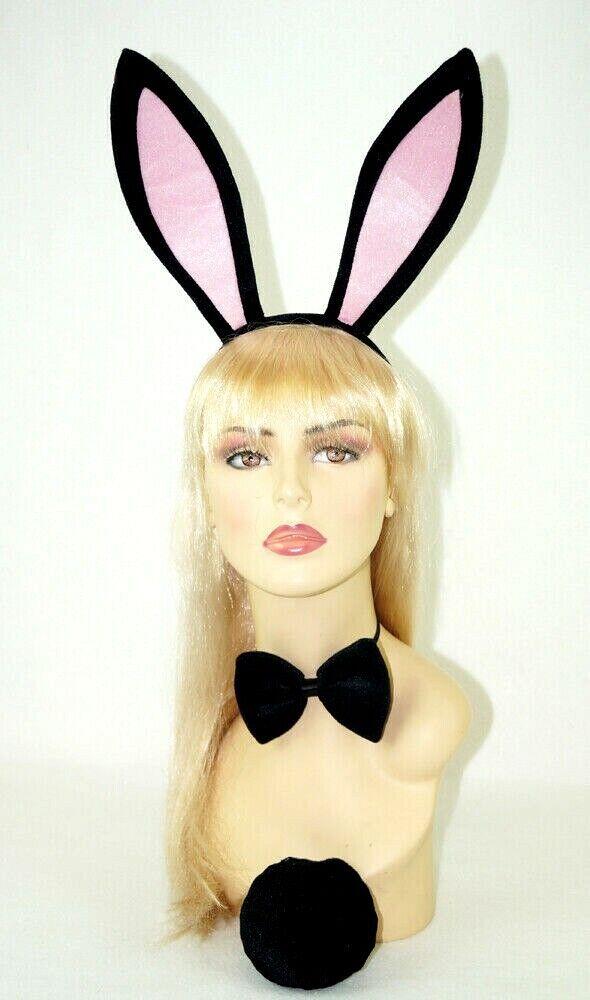 Playboy Bunny Burlesque Teddy Black White Lace Costume Halloween Bow Tie C9012