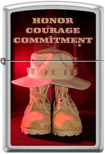 Zippo Honor Courage Commitment Army Boots Boonie Hat Lighter RARE HARD TO FIND