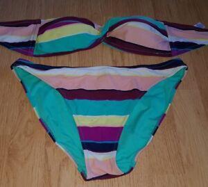 2b6dca8c74 Image is loading Gorgous-multi-coloured-striped-MATALAN-bandeau-bikini-top-