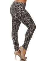 Black Animal Leopard Cheetah Leggings Pants Cotton L Plus 1x 2x 3x