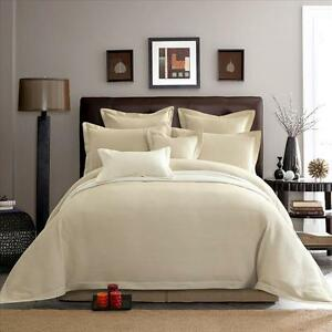 New-100-Cotton-5pcs-Waffle-Weave-Quilt-Doona-Duvet-Cover-Set-Beige-Colour-SDQK