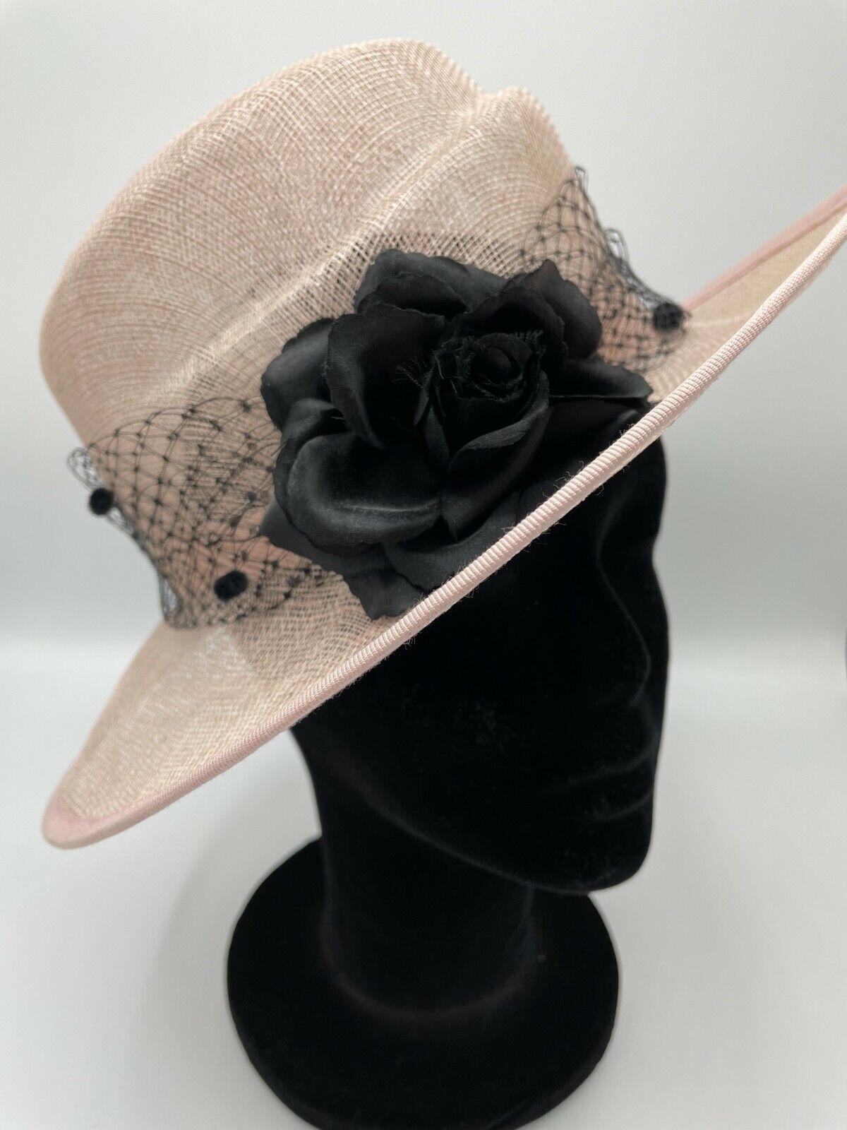 *Designer pink & black formal occasion hat, wedding, ascot, mother of the bride.