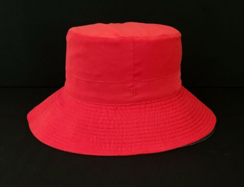 HERMES Red Woven Embroidered H Bucket Beach Sun Ha