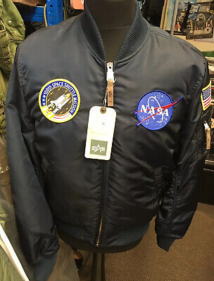 Abierto excursionismo extremidades  Genuine Alpha Industries MA-1 VF Rep Blue NASA Edition Slim Fit Bomber  Jacket | eBay