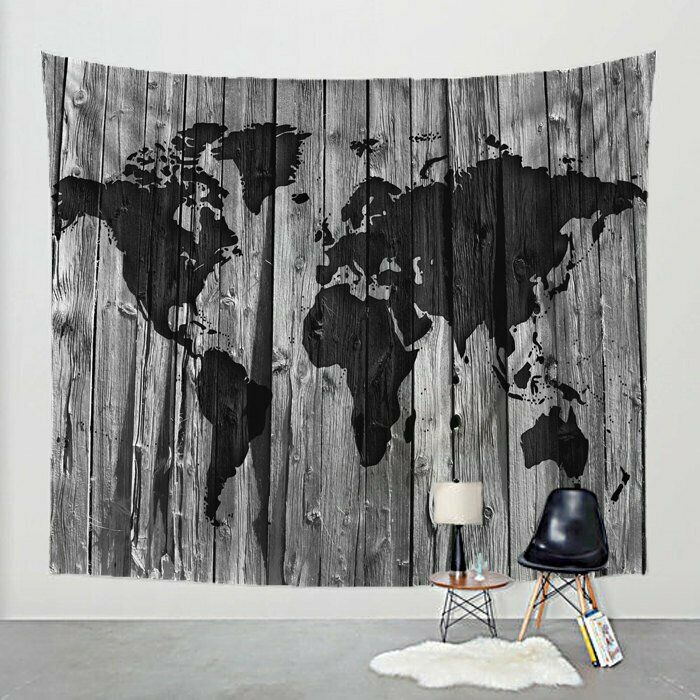 World Map Tapestry Barn Wood on Fabric Art Print Wall Hanging - Choose Farbe