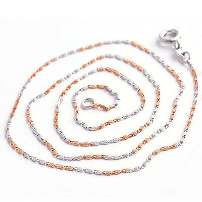 """Fashion 2 Tone Rose Gold Filled Womens Mens Silver Necklace For Pendant 18"""""""
