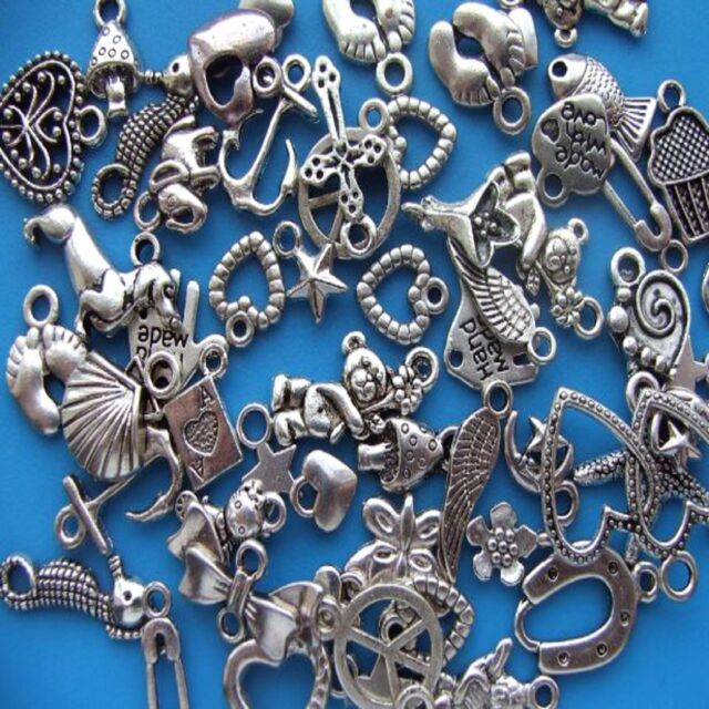 100 Mixed Tibetan Silver Pendant Charms Antique Heart Star Animal etc