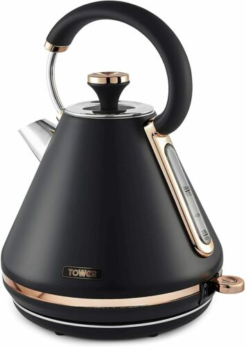 TOWER Cavaletto Black - Rose Gold Set Electric Jug Kettle and 4 Slice Toaster
