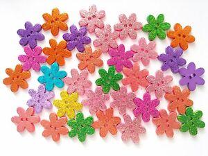 25-pcs-Glitter-flower-buttons-size-20-mm-2-holes