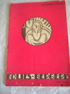 Theater Memorabilia Able Vintage Programme Theatre Folies Bergère 1934