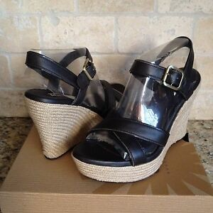 f727629b90f Details about UGG JACKILYN JAVA LEATHER STRAPPY WEDGE SANDALS HEELS SIZE US  8.5 WOMENS 1004307