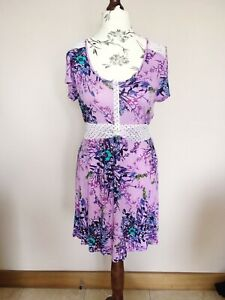 Joe-Browns-senoras-purpura-Jersey-Bohemia-floral-en-la-cintura-Vestido-S14