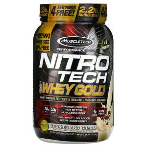 Nitro Tech 100 Whey Gold Cookies And Cream 2 21 Lbs 1 00 Kg 631656710441 Ebay