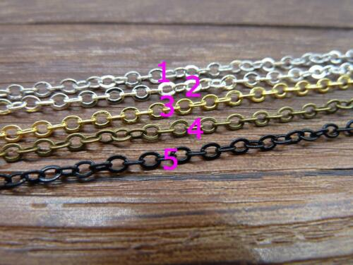 5m 2x3mm 5 colors Plated Brass Soldered Chain Flat Cable Chain 10m 16ft // 32ft