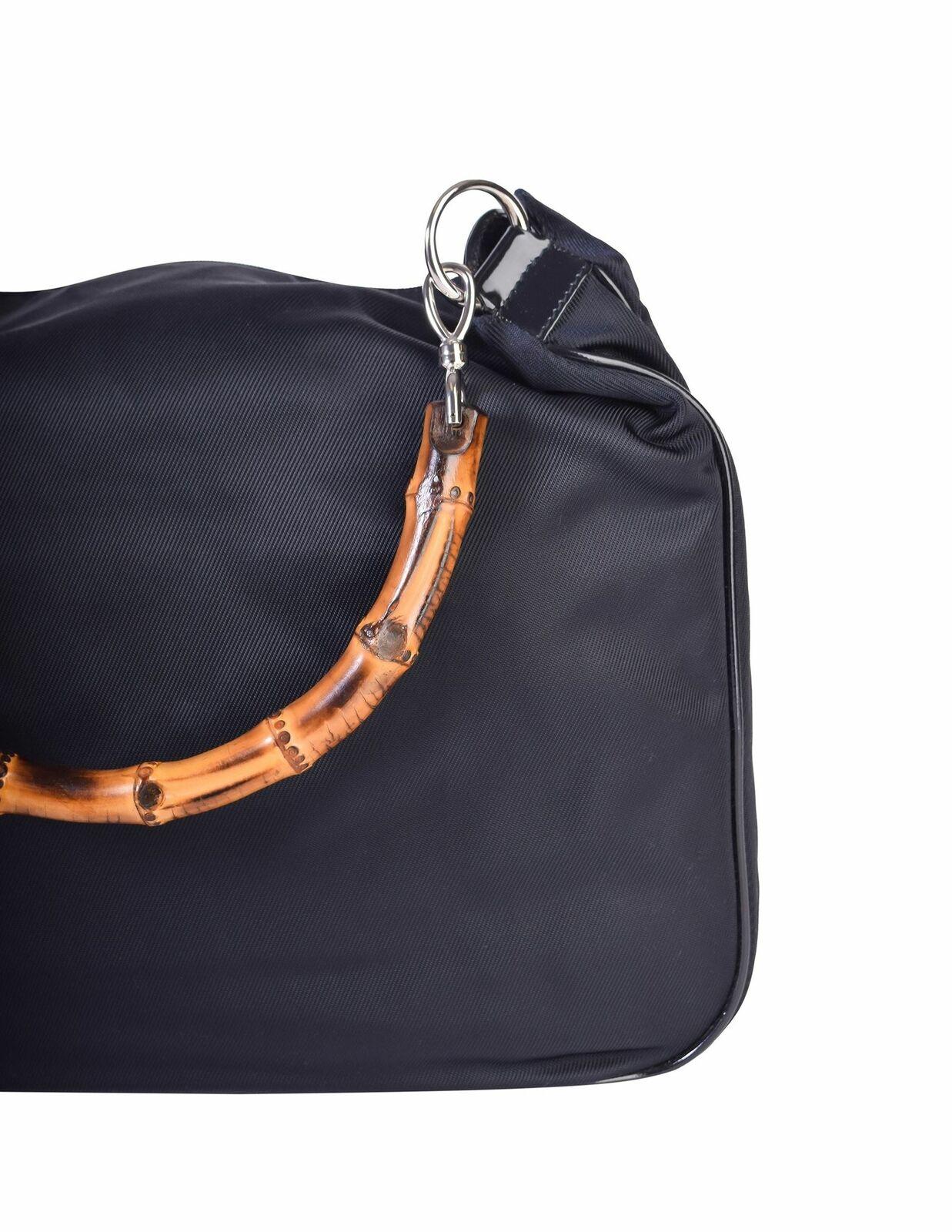Gucci Vintage Large Navy Blue Nylon Patent Leathe… - image 7