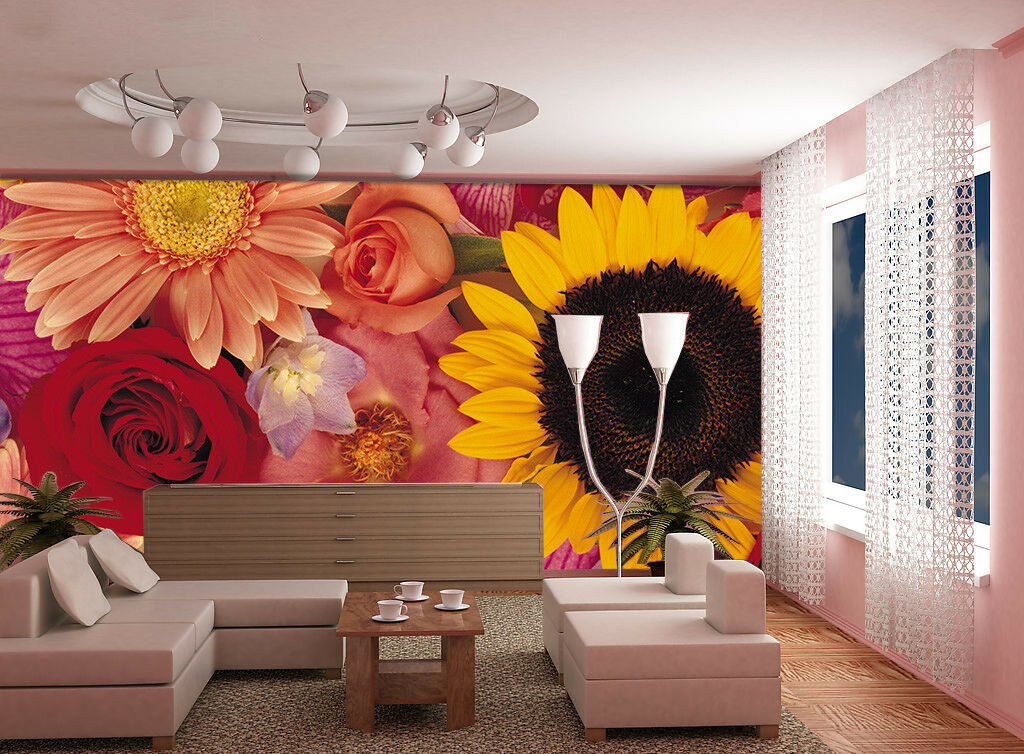 3D Rosa SonnenBlaume 94 Tapete Wandgemälde Tapete Tapeten Bild Familie DE Summer | Ausgezeichnetes Handwerk  | Hochwertig  | Beliebte Empfehlung