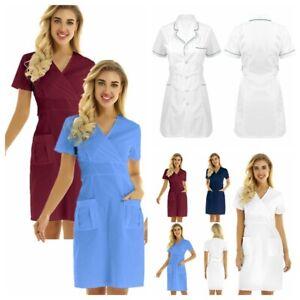 Adults Women Hospital Dress Doctor Nurse Uniform Medical Scrub Lab Coat Workwear