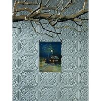 X46832 Lighted Christmas Snowy Church Canvas Painting Picture Ornament Holiday