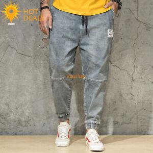 New-Men-039-s-Gray-Jogger-denim-pantalon-effet-vieilli-Loose-Harem-Jeans-Plus-Taille-30-46