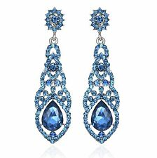 Nice Teal Austrian Crystal Rhinestone Chandelier Dangle Earring Prom E115t