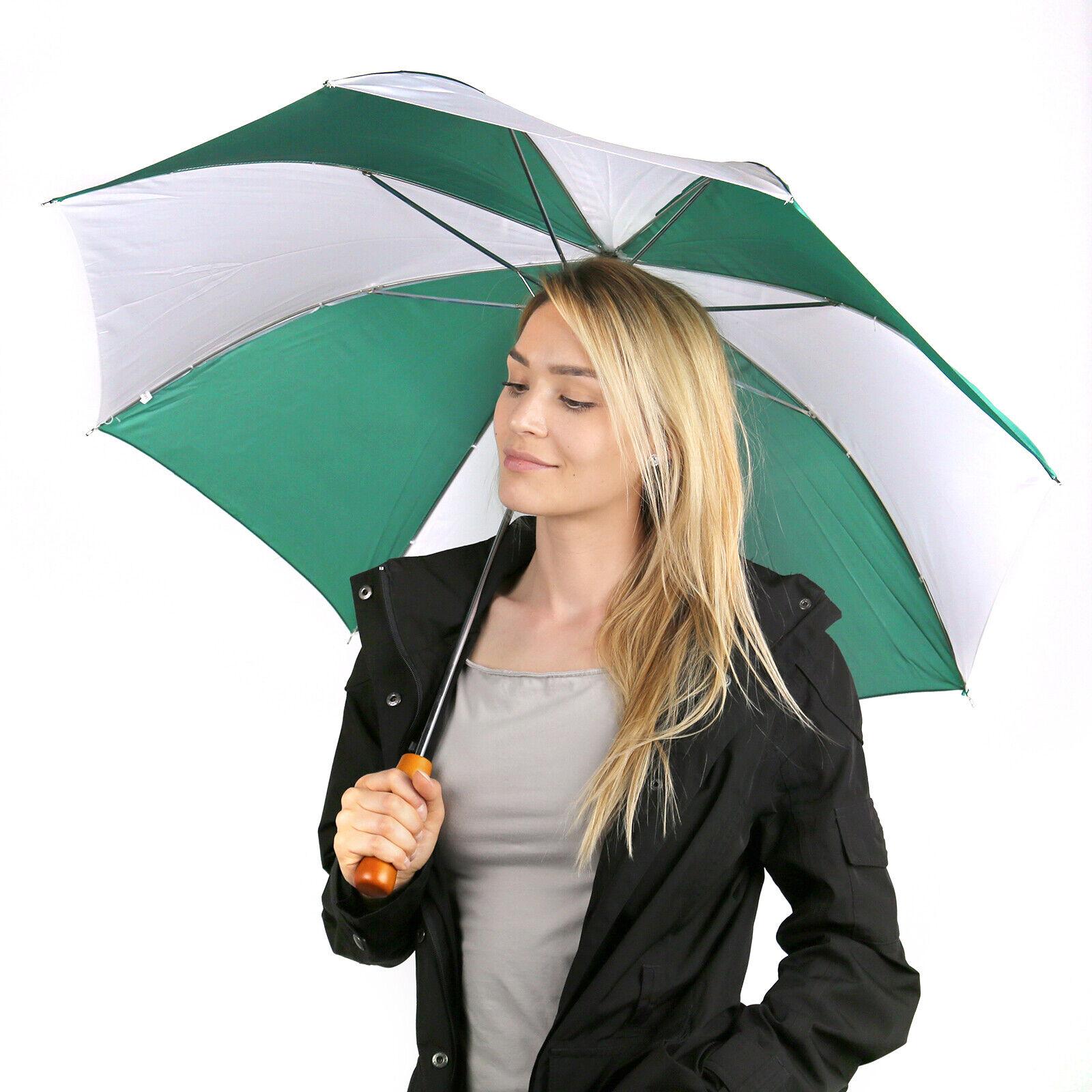 2er SET Regenschirm Stockschirm Automatik Golfschirm Holzgriff stabil grün weiß