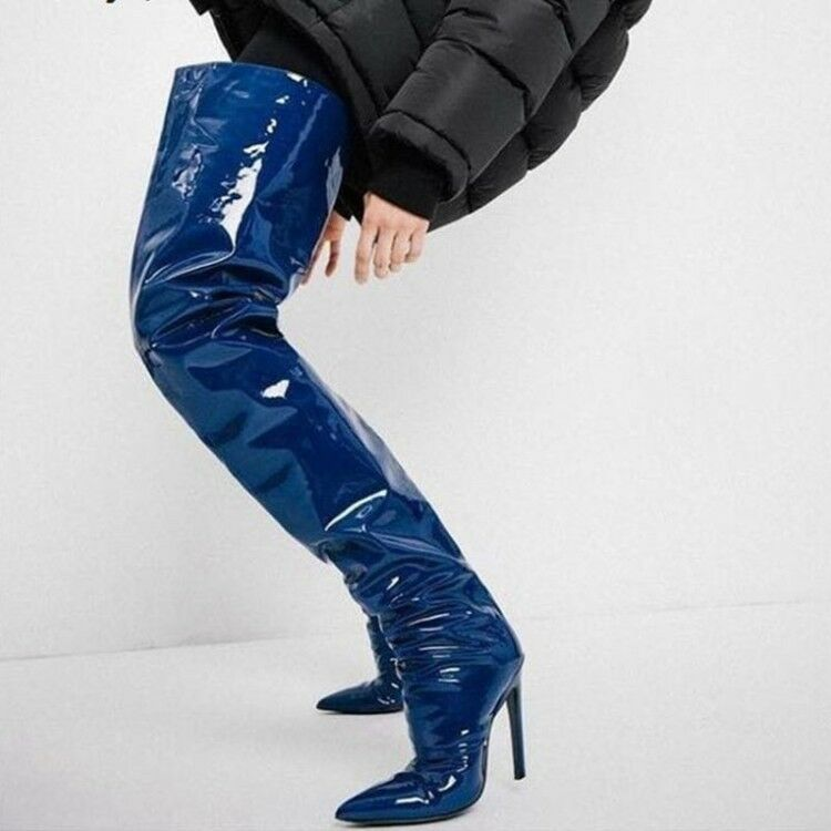 Novelty Women Thigh High Boots Heels Extrem Thigh Shinny bluee Boots shoes Women