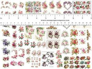 Dollhouse Miniature Shabby Chic Decals 1:12 Scale Floral Flowers Roses Vintage