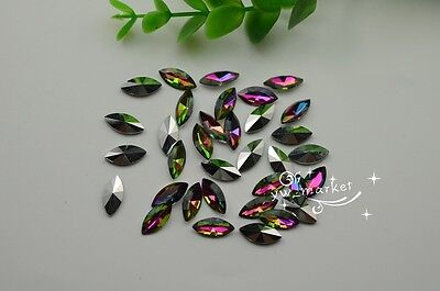100 PCS 7mm x 15mm Oval Colour Glass Faceted Glass Jewels