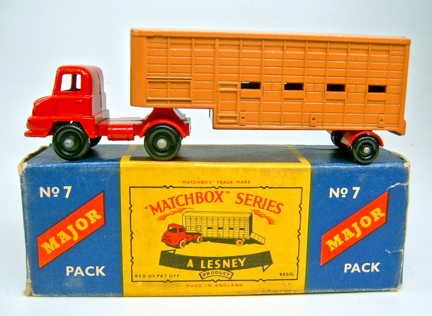 Major Pack m7a Cattle Truck Red d' Brown Black Wheels Fine Profile In Box
