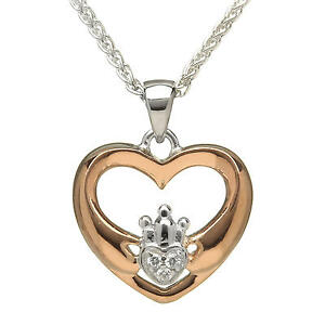 New Rose Gold Heart Shaped Stone set Claddagh Pendant Necklace