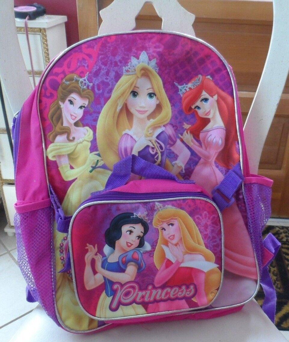 Disney Princess w/ Snow White Girls School Backpack Lunch Box Book Bag SET Kids