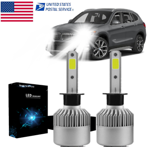 Pair H1 LED Headlight Bulb Kit CREE 2000W 300000LM 6500K High Low Beam Bulbs USA
