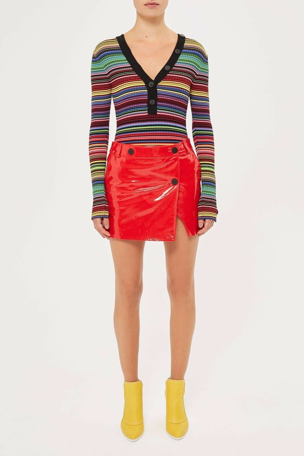 Topshop Heaton Patent Leather Skirt Size 8 36 US 4 RRP
