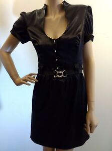 7eb4a157a55 Image is loading GUESS-Black-Satin-Rhinestone-Crystal-Button-Sexy-Belted-