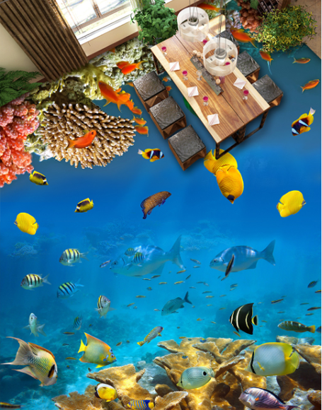 3D Blau ocean fish 2535 Floor WallPaper Murals Wall Print Decal 5D AJ WALLPAPER