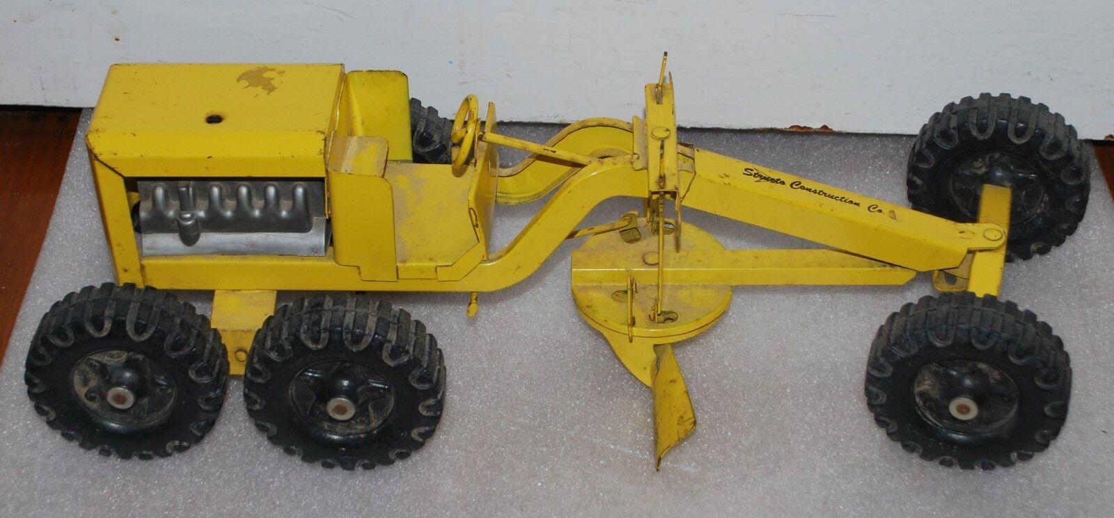 Jahrgang structo baufirma straße grader gelbe metall spielzeug - auto.