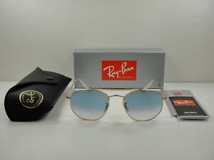 3d082b23d4 RAY-BAN MARSHAL SUNGLASSES RB3648 001 3F GOLD FRAME LIGHT BLUE ...