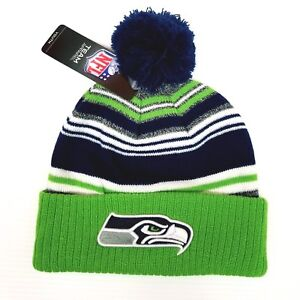 c7df3fcc Details about NFL Seattle Seahawks football team youth size beanie hat with  pom pom