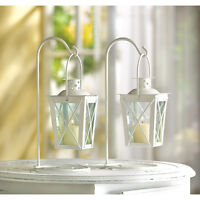 12 romantic white railroad candle lanterns on stands wedding table centerpieces Home Furnishings