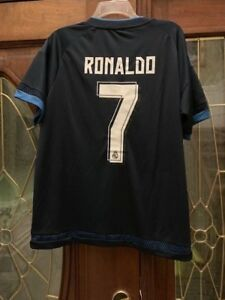 brand new a4578 ba8db Details about NWT Cristiano Ronaldo #7 soccer futbol Real Madrid Jersey  Blue FIFA Adult Medium